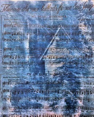 Cyanotype on vintage music manuscript