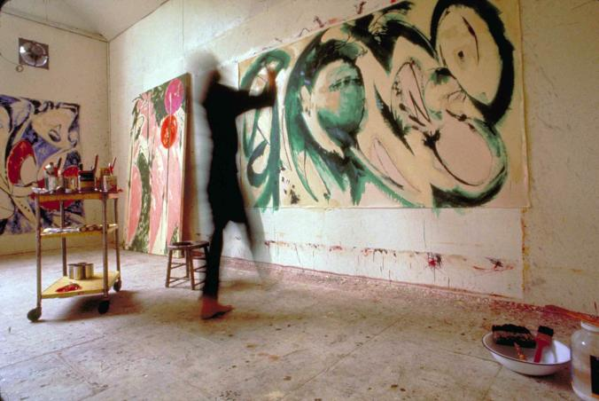 lee krasner painting portrait in green in her studio 1969